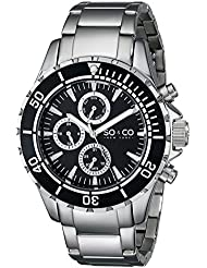 SO&CO New York Mens 5038.1 Yacht Club Unidirectional Black Bezel GMT Day and Date Stainless Steel Link Bracelet...