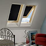 KINLO 38 * 75cm Roof Window Roller Blinds Blackout roof Velux Skylight Blind with Sucker Structure Without Drilling (Black)