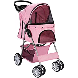 OxGord Pet Stroller Cat/Dog Easy Walk Folding Travel Carrier Carriage, Rose Wine