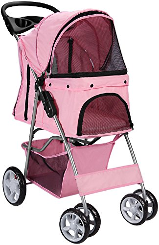 Carriage Large (Paws & Pals Pet Stroller Cat/Dog Easy Walk Folding Travel Carrier Carriage, Rose Wine)
