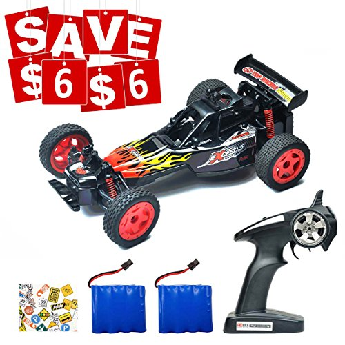 Speedi2 Electric RC Car Off Road 1:16 Scale RC Monster Truck 2.4GHz Radio Remote Control Car 2WD High Speed Rock Crawler with Light and 2 Rechargeable Battery 45 PCS Stickers