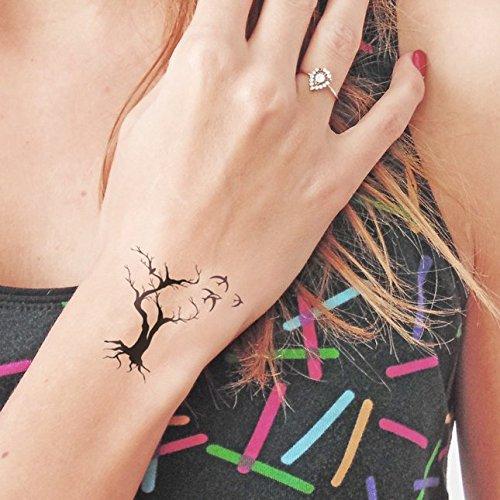 Árbol y pájaros - Tatuaje temporal (conjunto de 2): Amazon.es ...
