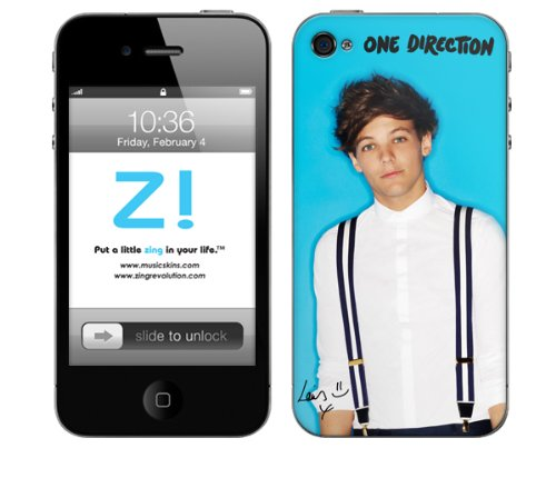 Zing Revolution One Direction Premium Vinyl Adhesive Skin for iPhone 4/4s - Retail Packaging - Louis Blue Bright