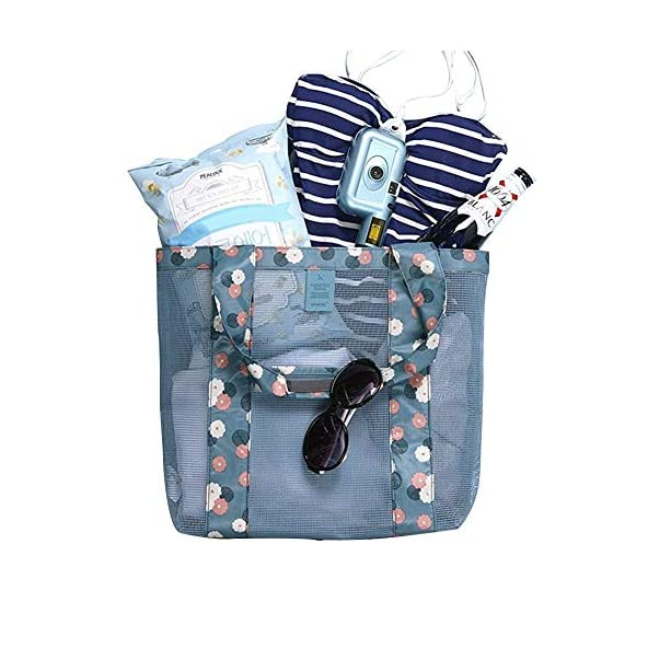 Diswa Beach Wear Clothing Bags for Footwear Storage Floral Mesh Tote Bags for Women Outdoor Swimsuit for Bathroom Vanity case