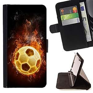 BullDog Case - FOR/Sony Xperia Z2 D6502 / - / Flaming Soccer Football Ball /- Monedero de cuero de la PU Llevar cubierta de la caja con el ID Credit Card Slots Flip funda de cuer