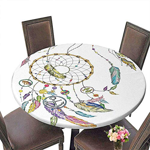 PINAFORE Round Premium Table Dream Catcher wit Colorful Feathers Beads Fishes Star Anchor Seashell for Indoor, Outdoor 40
