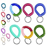 6pc Coil Stretch Wristband Keychain - Bright Pearlized Colors - Gym, Pool, ID Badege - Taiwan