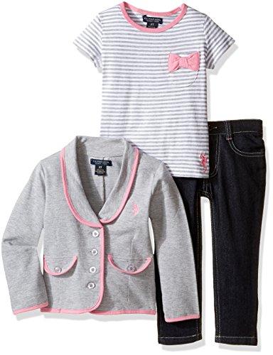 U.S. Polo Assn. Little Girls' French Terry Blazer, Striped T-Shirt and Stretch Denim Jean, Heather Grey, 6X (Terry Top Polo)