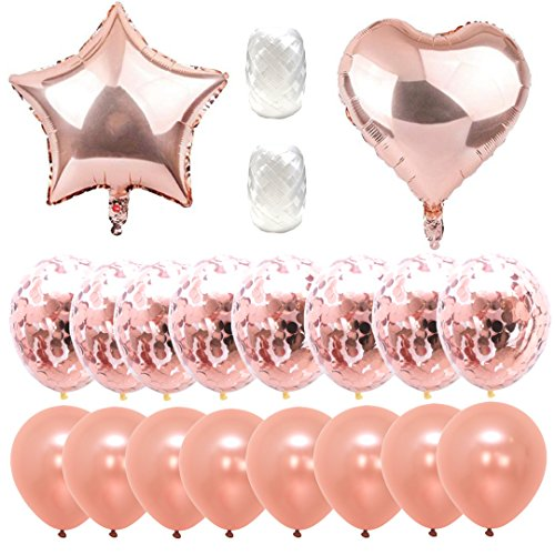 Variety Pack,18 inch, Rose Gold Foil, 12 inch Rose Gold Confetti, 12 inch Rose Gold Solid, White Ribbon. Romantic Rose Gold Balloons Bouquet [Premium Quality] (Happy Mothers Day Bouquet)