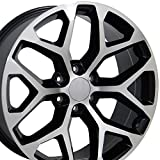 truck rims gmc sierra - 20x9 Wheel Fits GM Truck - GMC Sierra Style Black Rim w/Mach'd Face, Hollander 5668