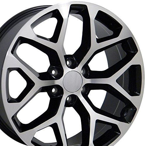 20×9 Wheels Fit GM Truck – GMC Sierra Style Black w/Mach'd Face Rims, Hollander 5668 – SET