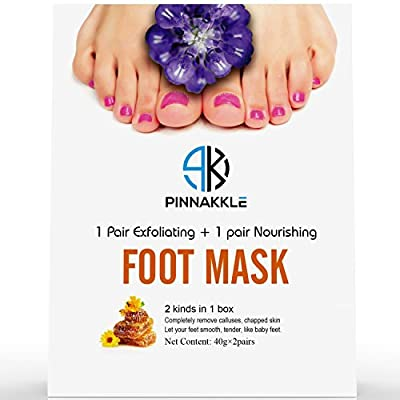 Pinnakkle Baby Feet Exfoliating Foot Peel Mask w/ BONUS Nourishing Foot Cream Mask | Exfoliating Feet Calluses and Dead Skin Remover | Get A Baby Soft Foot
