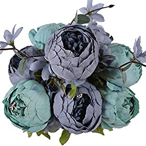 GSD2FF Artificial Flowers Wedding Vintage European Peony Wreath Silk Heads Home Festival Decoration 13 Branches Home,New Blue 3