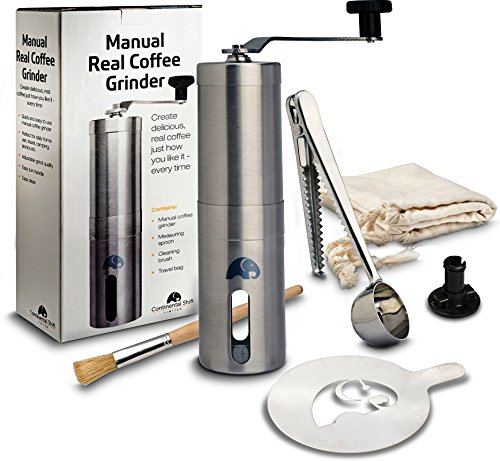 Manual Coffee Grinder for Home, Travel & Camping. Carry Bag, Measuring Scoop & Bag Clip. Brushed Stainless Steel, Ceramic Blade, Conical Burr Mini Mill, Stencil. Gifts for Coffee Lovers (Mini Manual Mini)