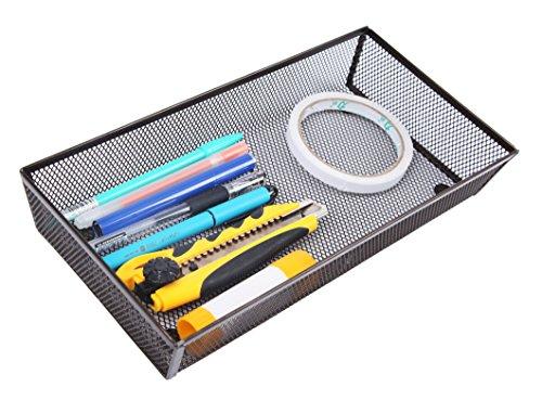 Finnhomy Mesh Drawer Organizer and Shelf Storage Bins School Supply Holder Office Desktop Cabinet Brown 6