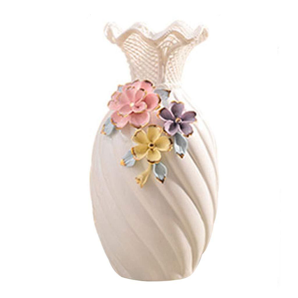 花瓶コンテナセラミックジュエリーポーチテレビキャビネット装飾リビングルームワインキャビネット家の装飾花瓶現代クラフトウェディングギフトのアイデア (Color : WHITE, Size : 16.5*16.5*30CM) B07RYSRCCB WHITE 16.5*16.5*30CM