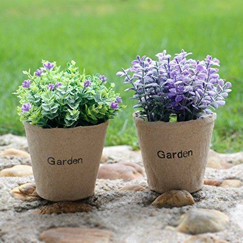 MX Artificial Flowers Potted Plants Imitation Plants in Pots House Kitchen Restaurant Living Room Indoor Outdoor Decoration 2 Pieces by MX