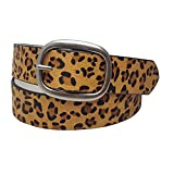 Hair On Calf Leather Belt inTan Leopard Print in Small