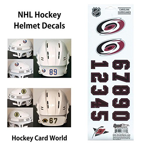 Hockey Helmet Stickers - (HCW) Carolina Hurricanes SportsStar NHL Hockey Helmet Decals Sticker Sheet