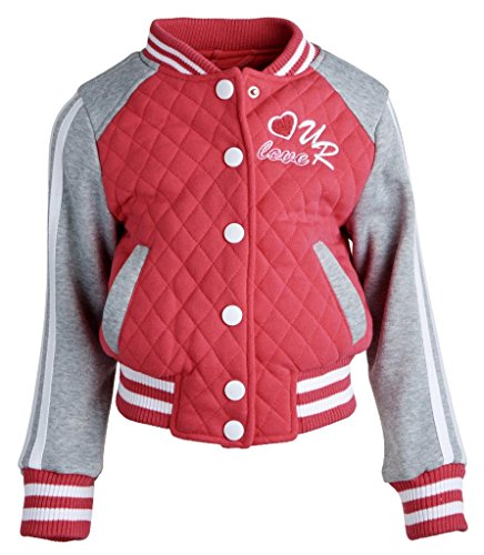 Urban Republic Baby Girls Jersey Quilted Varsity Jacket Hoodie with Knit Ribbing - Hot Pink (12 Months)