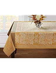 """Benson Mills Gathering Engineered Jacquard Tablecloth (60"""" X 104"""" Rectangular, Ivory) For Harvest, Fall and Thanksgiving"""