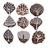 Hashcart Baren for Block Printing Stamps/Wooden Stamping Block/Handcarved Designer Craft Printing Pattern for Saree Border,Henna/Textile Printing,Scrapbooking,Pottery Crafts & Wall Painting,Set of 9