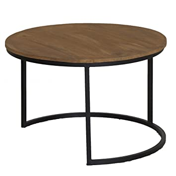 Beistelltisch Holz Metall Rund 75cm Tischplatte Mangoholz Braun
