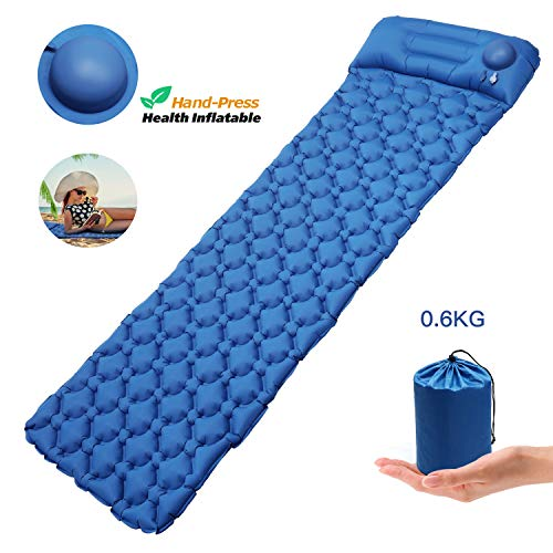 Pimpimsky Ultralight Sleeping Pad-Hand Press Inflatable Sleeping Pad, Ultralight Air Sleeping Mat with Pillow for Camping, Compact & Portable Air Camping Mat Lightweight Mattress (dark blue)