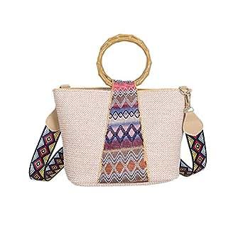 TOOGOO Ethnic Style Ring Hand-Woven Straw Bag Geometric Pattern Shoulder Strap Shoulder Bag Messenger Bag (Blue)