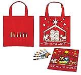 AT001 Recycled Nylon, Christmas Tote Bag Coloring Set, 8'' x 8'', 12pk.