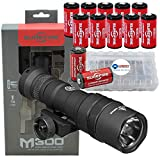 SureFire M300 Ultra Compact Mini Scout LED WeaponLight 500 Lumens with 12x Extra CR123A Batteries and 3 Battery Cases