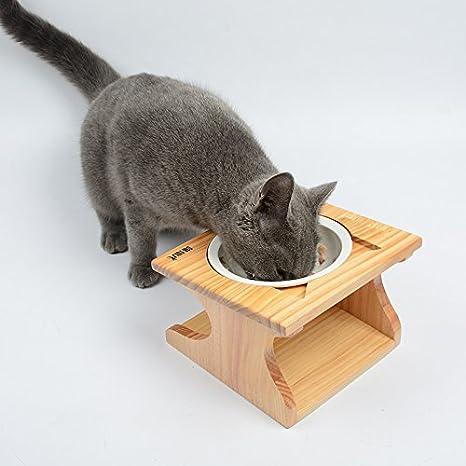 Comedero Pet Petons con 2 cuencos para perros y gatos, madera y cerámica: Amazon.es: Hogar