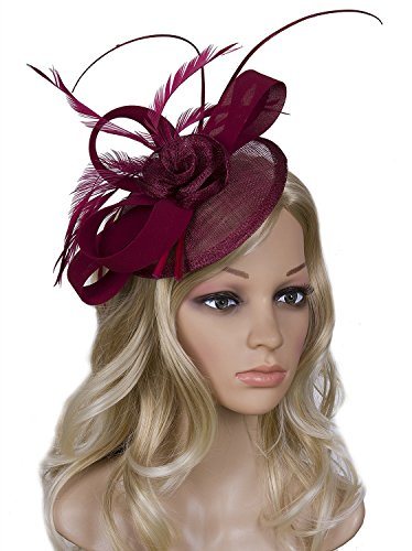 Vijiv Women Vintage Derby Fascinator Hat Pillbox Headband Feather Cocktail Tea Party, Red, One Size