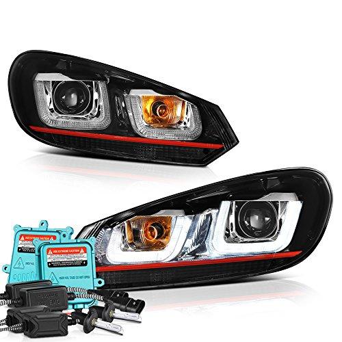 VIPMOTOZ OLED Tube U-Bar Projector Headlight Headlamp Assembly For 2010-2014 Volkswagen MK6 Golf GTI VW Jetta Sportwagon - [Halogen Type] - Built In 55W Xenon HID Low Beam, Driver & ()