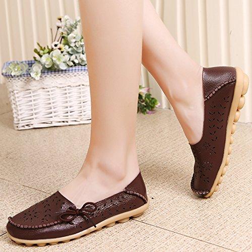 VenusCelia Damen Atmungsaktiver Walking Flat Loafer Braun