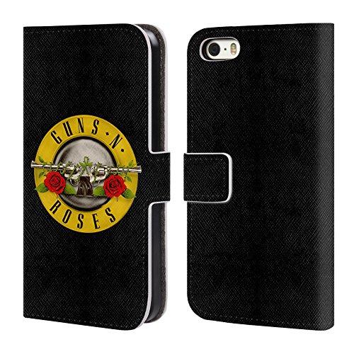 Officiel Guns N' Roses Logo De Balle Art Clé Étui Coque De Livre En Cuir Pour Apple iPhone 5 / 5s / SE