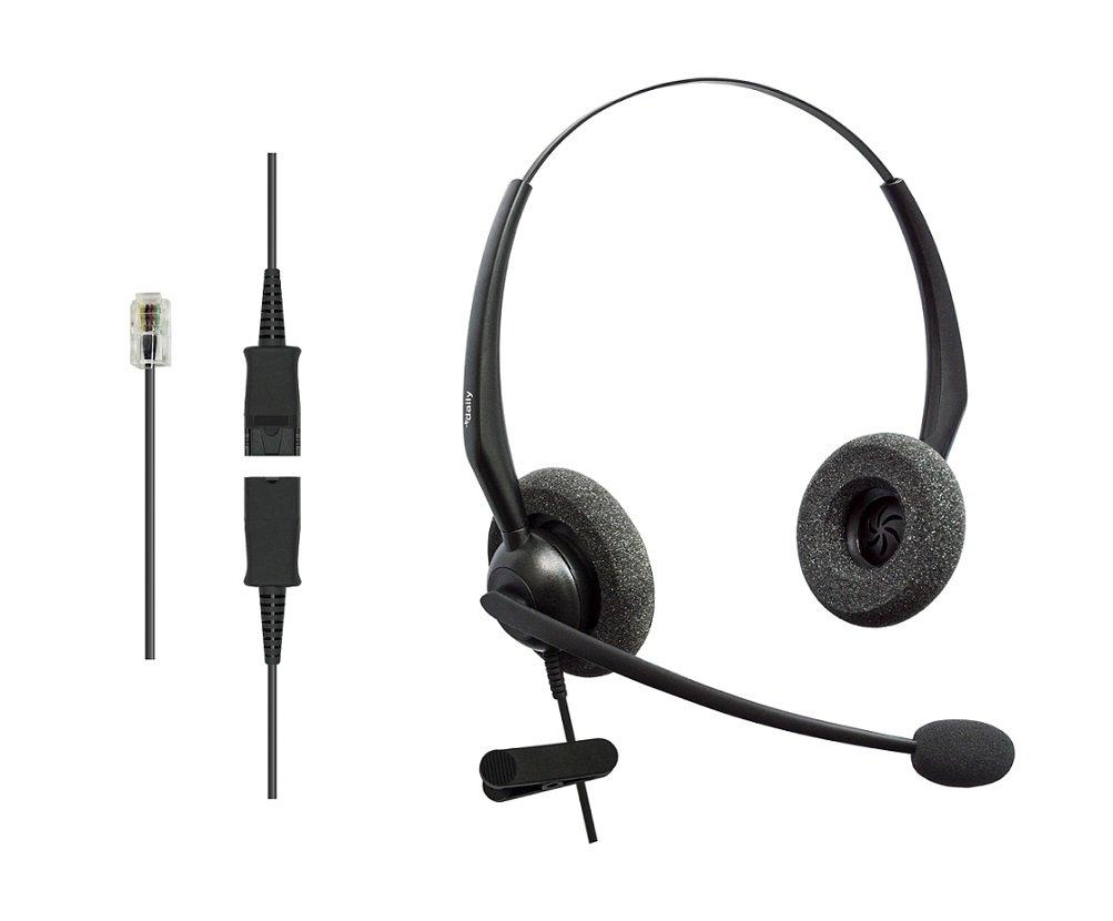 DailyHeadset RJ9 NC Duo Office Phone Corded Headset for Analog Business IP Office Landline Phone Aastra AltiGen Avaya Digium Mitel Nortel Meridian Polycom ShoreTel Packet 8 TalkSwitch