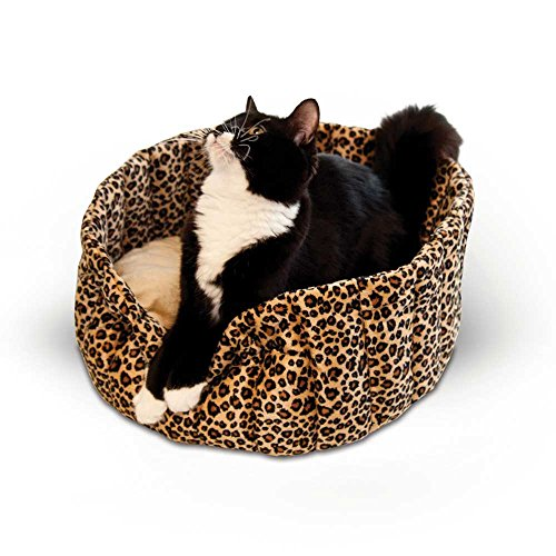 """K&H Pet Products Lazy Cup Cat Bed Small Leopard 16"""" x 16"""" x 7"""""""