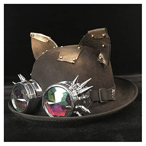 Negro 58 Bowler Cm Mujer Hat Gby Hombre Blg Unisex 57 Gafas Jazz Tamaño Sombreros Steampunk Novio color Moda Topper Fedora Billycock WRWapfH