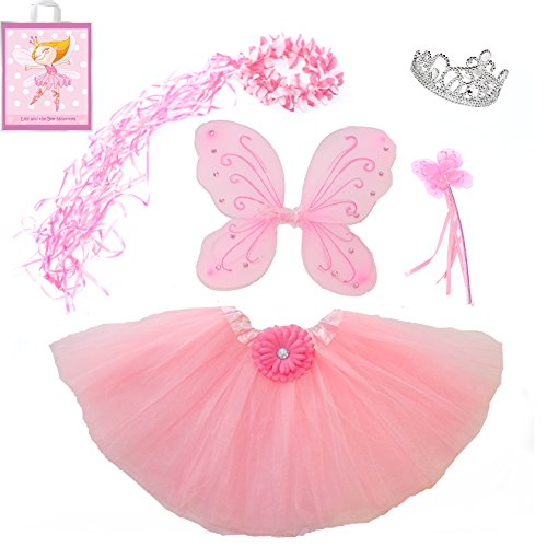 [Lilly and the Bee Novelties Sparkle Fairy Princess Costume Set wih Gift Bag - Pink, (5-Piece)] (Dress Up Fairy Wings)