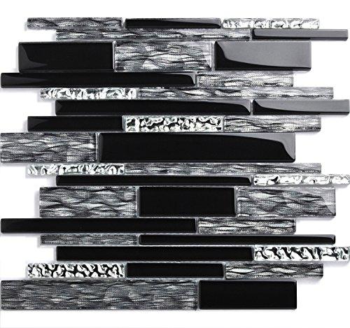 Black Silver Glass Tile Kitchen Backsplash Mosaic Art Home Decor Bath Wall NB09 (11 PCS [12'' X 12''/each]) by TST MOSAIC TILES (Image #6)