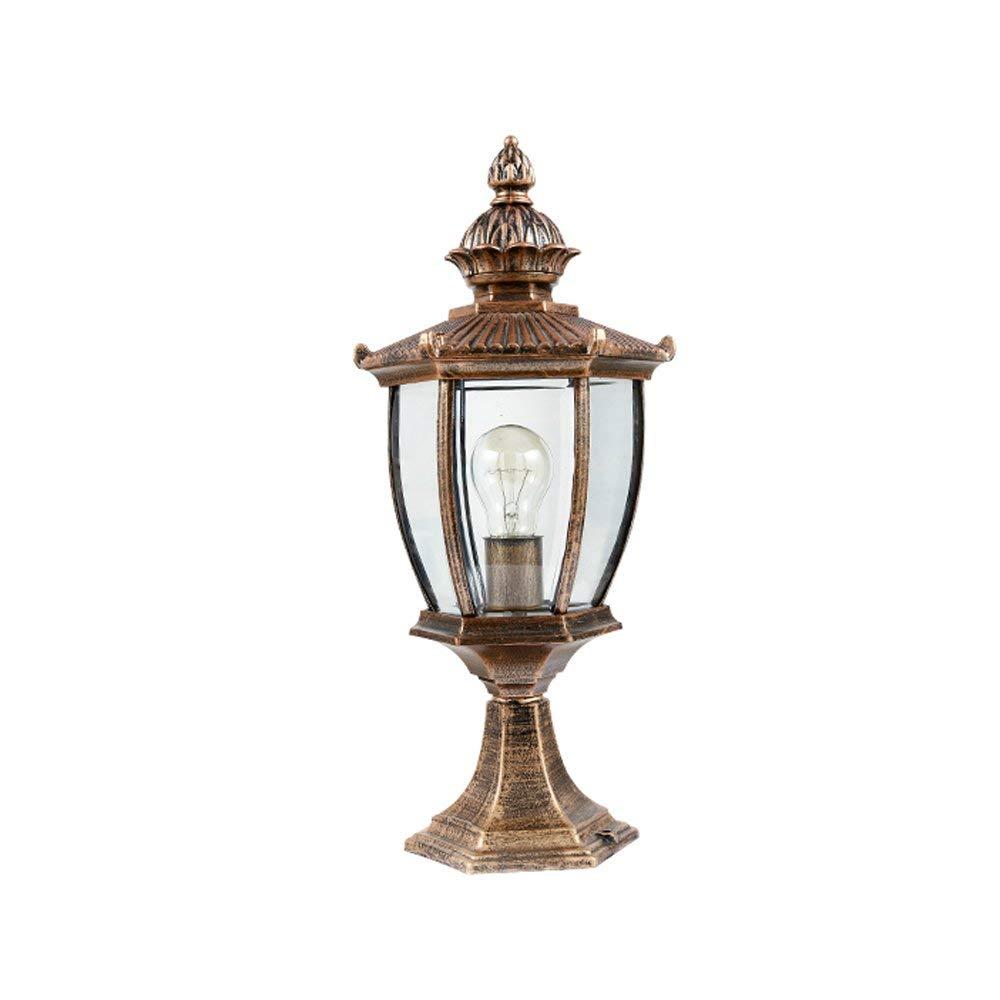 Wapipey European Outdoor Light Column Lamp Outside Table Desk Lamp Column Lamp Tradition Victoria Antique Glass Lantern Aluminum Waterproof Continental Villa Patio Park Garden Light Landscape Lawn Lig