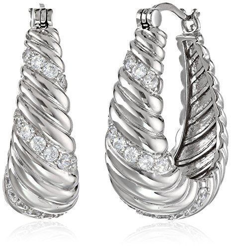 (Sterling Silver Cubic Zirconia Twisted Oval Hoop Earrings (2 cttw))