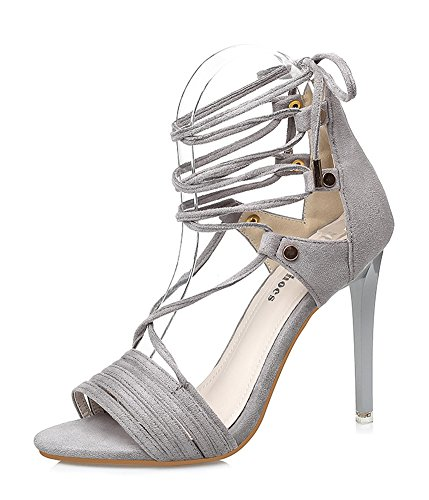 Dressy High Open Heel Stiletto Strappy Tie Grey Aisun Toe Trendy Shoes Self Women's Sandals xaIAZ
