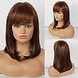 HAIRCUBE Long Brown Bob Wigs Auburn Highlight Wigs