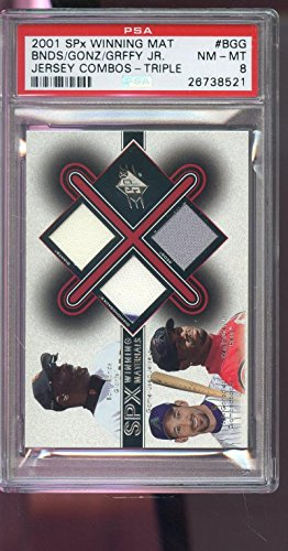 2001 SPX Winning Materials Ken Griffey Jr. Barry Bonds Game-Used Jersey Card PSA