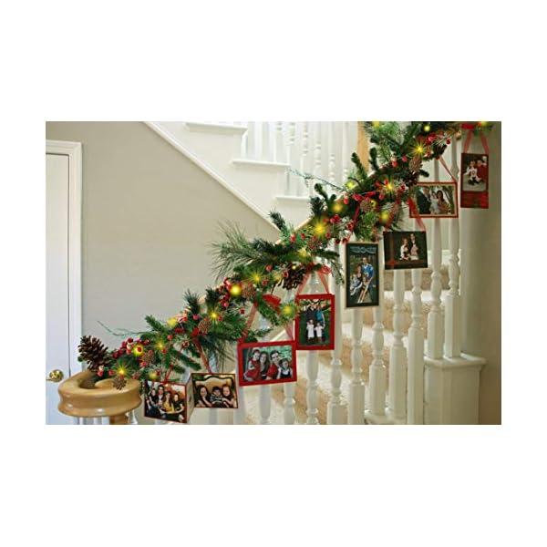 YQing 204cm Bacca Natale Ghirlanda, LED Ghirlanda Natalizia Bacca Rossa Natale Ghirlanda di Pino per Le Decorazioni Natalizie di Capodanno per Le Vacanze di Natale 3 spesavip