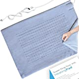Heating Pad - Electric XXL Heating Pad for Moist and Dry Heat Therapy, Fast Neck/Shoulder/Back Pain Relief at Home - Tabby Blue (18''x26'')