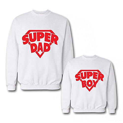Festa Regalo del Padre Bianche Coppia Figlia Felpe Idea Figlio Superboy Papa' di Superdad qn0wBH