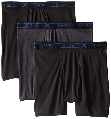 Hanes Ultimate Men's 3-Pack X-Temp Boxer Briefs, Black/Heather Grey, X-Large
